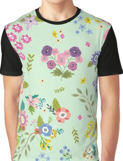 Garden Floral On Mint Green Graphic T-Shirt