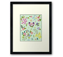 Garden Floral On Mint Green Framed Print