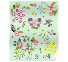 Garden Floral On Mint Green Poster