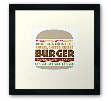 Words in My Mouth - Typography Burger Framed Print