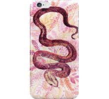 Watercolor snake in pink garden iPhone Case/Skin
