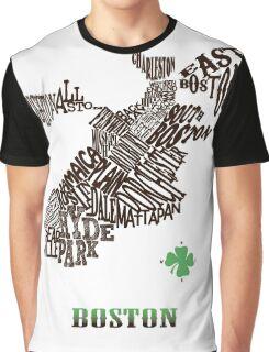 Boston Clover Neighborhoods Map Graphic T-Shirt