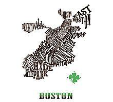 Boston Clover Neighborhoods Map Photographic Print