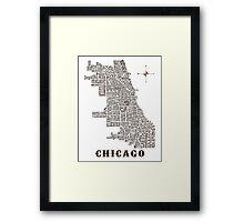 Chicago Neighborhood Map Framed Print