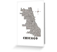 Chicago Neighborhood Map Greeting Card