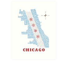 Chicago Flag Neighborhood Map Art Print
