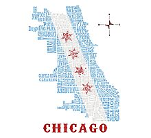 Chicago Flag Neighborhood Map Photographic Print