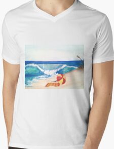 Beach Left Mens V-Neck T-Shirt