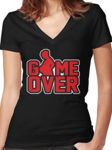 Game Over - Pregnant Women's Fitted V-Neck T-Shirt