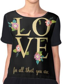 Love Gold And Floral Print Chiffon Top