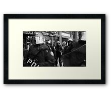 Riot Police Blocking Path Framed Print