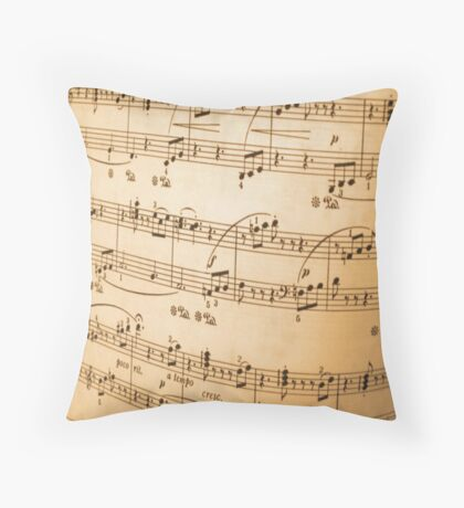 Sheet of Music Vintage Abstract Design Throw Pillow
