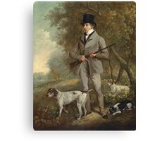 Philip Reinagle - John Hind. Hunter painting: hunting man, nature, male, forest, wild life, masculine, dogs, hunt, manly, hunters men, hunter Canvas Print