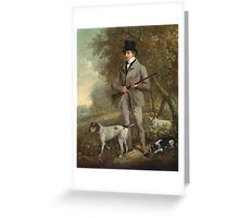 Philip Reinagle - John Hind. Hunter painting: hunting man, nature, male, forest, wild life, masculine, dogs, hunt, manly, hunters men, hunter Greeting Card
