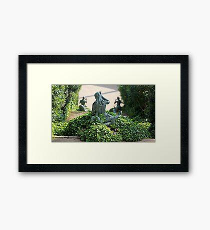 Statue  mermaid in the bush Framed Print