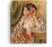 Pierre-Auguste Renoir - Gabrielle . Woman portrait: femine, girly , black hair, hair, rose, beautiful dress, open shirt , breast ,  flower , sexy lady, erotic pose Canvas Print