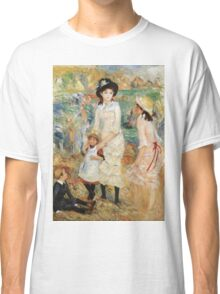 Pierre-Auguste Renoir - Children On The Seashore, Guernsey. Seashore landscape: sea view, children, girl, girls, sisters, boy and girl, boy, dress,  hat, holiday, tenderness Classic T-Shirt
