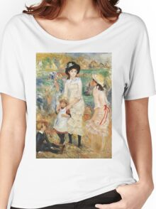 Pierre-Auguste Renoir - Children On The Seashore, Guernsey. Seashore landscape: sea view, children, girl, girls, sisters, boy and girl, boy, dress,  hat, holiday, tenderness Women's Relaxed Fit T-Shirt