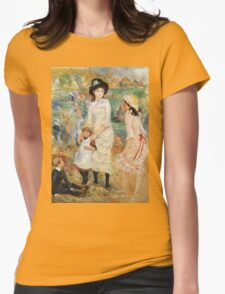 Pierre-Auguste Renoir - Children On The Seashore, Guernsey. Seashore landscape: sea view, children, girl, girls, sisters, boy and girl, boy, dress,  hat, holiday, tenderness Womens Fitted T-Shirt