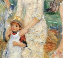Pierre-Auguste Renoir - Children On The Seashore, Guernsey. Seashore landscape: sea view, children, girl, girls, sisters, boy and girl, boy, dress,  hat, holiday, tenderness Sticker