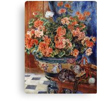 Pierre-Auguste Renoir - Geraniums And Cats. Still life with flowers: still life with flowers,  flower arrangement, blossom,  flowers, Geraniums,  pot , china,  passion,  bowl, cats, ball of wool Canvas Print