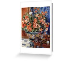 Pierre-Auguste Renoir - Geraniums And Cats. Still life with flowers: still life with flowers,  flower arrangement, blossom,  flowers, Geraniums,  pot , china,  passion,  bowl, cats, ball of wool Greeting Card