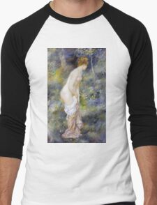 Pierre-Auguste Renoir - Standing Bather. Woman portrait: daytime, bather, naked, nudes , nudity,  breast , buttock , sensual, erotic, sexy , girl Men's Baseball ¾ T-Shirt