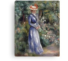 Pierre-Auguste Renoir - Woman In A Blue Dress. Woman portrait: femine, girly ,  women, pretty women, blue dress, beautiful dress,  fine art images,  hat , pink hat,  garden, flowers Canvas Print