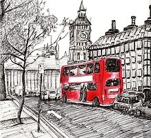 London - Red Bus by Micky Wozny