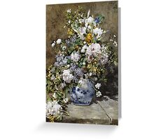 Pierre-Auguste Renoir - Spring Bouquet. Still life with flowers: vase, spring , blossom, bouquet,  flowers,  peony, peonies,  iris, lavender, lilacs, lilac Greeting Card