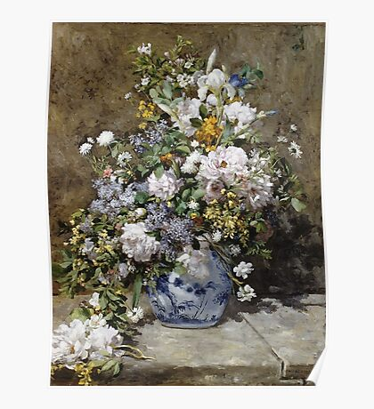 Pierre-Auguste Renoir - Spring Bouquet. Still life with flowers: vase, spring , blossom, bouquet,  flowers,  peony, peonies,  iris, lavender, lilacs, lilac Poster