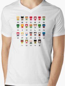 Superhero Alphabet Mens V-Neck T-Shirt