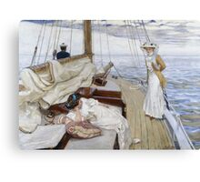Raoul Du Gardier - Calme Blanc (White Calm). Sea landscape: sea view, yacht, women,  man, seaside, waves, marin, seascape, sun , clouds, ocean Canvas Print