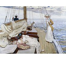 Raoul Du Gardier - Calme Blanc (White Calm). Sea landscape: sea view, yacht, women,  man, seaside, waves, marin, seascape, sun , clouds, ocean Photographic Print