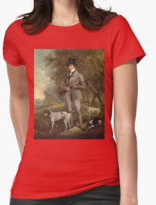 Philip Reinagle - John Hind. Hunter painting: hunting man, nature, male, forest, wild life, masculine, dogs, hunt, manly, hunters men, hunter Womens Fitted T-Shirt
