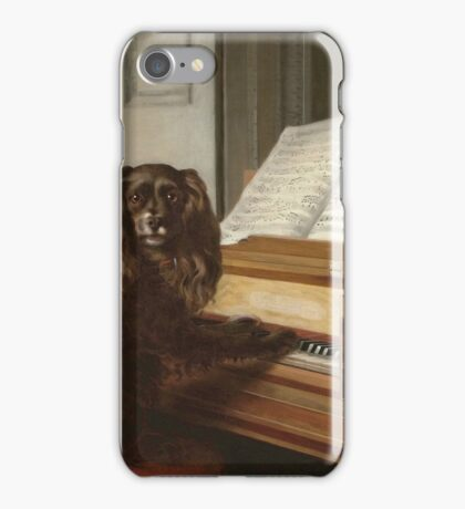 Philip Reinagle - Portrait Of An Extraordinary Musical Dog. Dog painting: cute dog, purebred, musician,  piano,  pianist,  pet,  playing, music,  musical, pianist, childhood iPhone Case/Skin