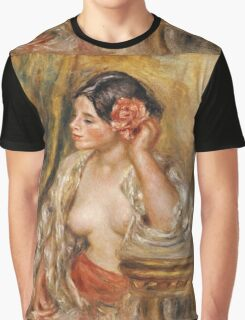 Pierre-Auguste Renoir - Gabrielle . Woman portrait: femine, girly , black hair, hair, rose, beautiful dress, open shirt , breast ,  flower , sexy lady, erotic pose Graphic T-Shirt