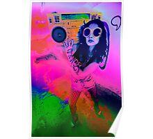 Pop Art Boombox Girl Poster