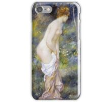 Pierre-Auguste Renoir - Standing Bather. Woman portrait: daytime, bather, naked, nudes , nudity,  breast , buttock , sensual, erotic, sexy , girl iPhone Case/Skin