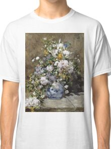 Pierre-Auguste Renoir - Spring Bouquet. Still life with flowers: vase, spring , blossom, bouquet,  flowers,  peony, peonies,  iris, lavender, lilacs, lilac Classic T-Shirt