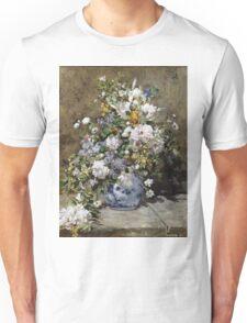 Pierre-Auguste Renoir - Spring Bouquet. Still life with flowers: vase, spring , blossom, bouquet,  flowers,  peony, peonies,  iris, lavender, lilacs, lilac Unisex T-Shirt