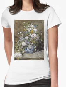 Pierre-Auguste Renoir - Spring Bouquet. Still life with flowers: vase, spring , blossom, bouquet,  flowers,  peony, peonies,  iris, lavender, lilacs, lilac Womens Fitted T-Shirt