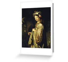 Rembrandt Van Rijn - Saskia As Flora. Woman portrait:  woman, girly art, goddess, wife, young, beautiful dress, earrings, hair, headdress, sexy lady, erotic pose Greeting Card