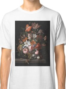 Rachel Ruysch - Flowers In A Glass Vase. Still life with flowers:  bouquet, flowers, bumblebee , carnations, peonies, roses, tulips,  marigolds,  life, garden, blossom Classic T-Shirt