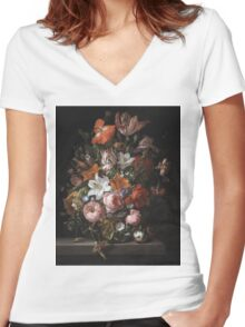 Rachel Ruysch - Flowers In A Glass Vase. Still life with flowers:  bouquet, flowers, bumblebee , carnations, peonies, roses, tulips,  marigolds,  life, garden, blossom Women's Fitted V-Neck T-Shirt