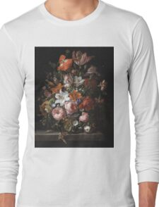 Rachel Ruysch - Flowers In A Glass Vase. Still life with flowers:  bouquet, flowers, bumblebee , carnations, peonies, roses, tulips,  marigolds,  life, garden, blossom Long Sleeve T-Shirt