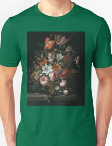 Rachel Ruysch - Flowers In A Glass Vase. Still life with flowers:  bouquet, flowers, bumblebee , carnations, peonies, roses, tulips,  marigolds,  life, garden, blossom Unisex T-Shirt