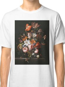 Rachel Ruysch - Flowers In A Glass Vase1704 . Still life with flowers:  bouquet, flowers, bumblebee , carnations, peonies, roses, tulips,  marigolds,  life, garden, blossom Classic T-Shirt