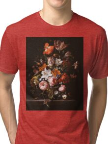Rachel Ruysch - Flowers In A Glass Vase1704 . Still life with flowers:  bouquet, flowers, bumblebee , carnations, peonies, roses, tulips,  marigolds,  life, garden, blossom Tri-blend T-Shirt