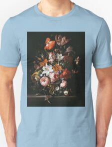 Rachel Ruysch - Flowers In A Glass Vase1704 . Still life with flowers:  bouquet, flowers, bumblebee , carnations, peonies, roses, tulips,  marigolds,  life, garden, blossom Unisex T-Shirt